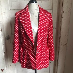 Red with white polka dot jacket